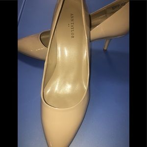 "Ann Taylor nude patent leather 2"" heels"